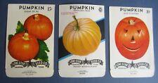 Lot of 3 Old Vintage PUMPKIN - SEED PACKETS - Jack O'Lantern - Pie - Kentucky