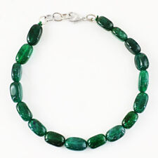 95.00 Cts Earth Mined Oval Shape 8 Inches Long Green Emerald Beads Bracelet