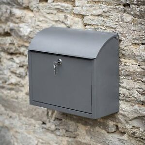 Large Wall Mounted Outdoor Charcoal Lock Mailbox Outside Steel Post Letter Box