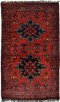 Red & Black Hand Knotted Tribal Area Rug & Carpet For Rooms | Door mats Rug