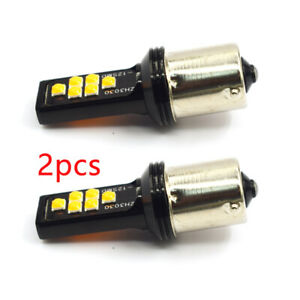 1 Pair 550mA Yellow Error Free 1156 BA15S P21W Led Backup Reverse Lights Canbus