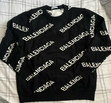 Balenciaga All over logo Knit Sweater Jumper Large Black Wool