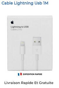 Original Chargeur Cable USB Apple Lightning IPhone 5 6 7 8 IPad 1-2 Mètres Neuf
