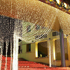 9.8ftx6.6ft 224 LED Christmas xmas String Fairy Wedding Curtain Light Warm White