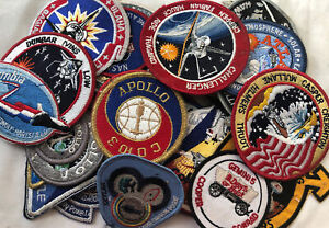 Vintage Mix Lot Of 33 NASA Patches Apollo Kennedy Space Center Shuttle Rocket 7