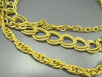 Vintage GOLD TONE 3-STRAND NECKLACE Double Curb Chain ROPE CHAIN TEXTURED ROLO