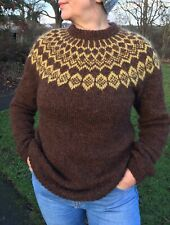 Icelandic Wool Ladies Jumper Sweater Size M/L (12-14) 100 % Lopi Yarn Hand Knit