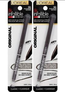 (2) L'Oréal Infalible Nunca Falla Original Mecánico Delineador 581 Marrón Negro