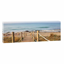Bild Strand Meer Keilrahmen Leinwand  Poster  Wandbild Steg 150 cm*50 cm 471
