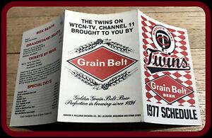 1977 MINNESOTA TWINS GRAIN BELT BEER BASEBALL POCKET SCHEDULE FREE SHIPPING