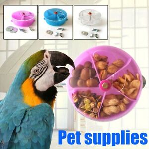 Rotate Parrot Toys Wheels Bite Chewing Birds Foraging Food Box Cage Feeder Good