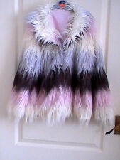 TIE DYE COAT FURRY SHAGGY HIPPY SIZE 6 - 8 TYE DYE PASTEL PINK BLUE BLACK WHITE