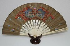 Ab120 Antique Fan. Double Side. Metallic Lays. Hand Painted Silk. 19th Century
