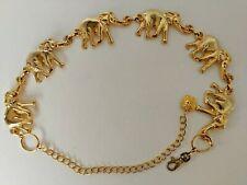 Anne Klein Vintage Statement Metal Belt Gold Tone Elephants Chain