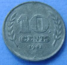 1941 Nederland The Netherlands 10 cent, dubbeltje 1941. Zink. Wilhelmina. KM#173