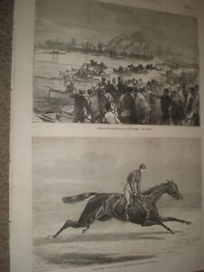 Rowing Double sculling match Thames & horse Aventuriere Newmarket 1874 prints