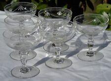 Service de 6 coupes à champagne en cristal taillé. Circa 1930
