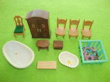 Sylvanian Families Furniture Bundle - inc Wardrobe, Bath, Chairs, Playpen, Bench