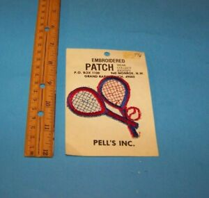 Tennis Patch Red & Blue  Vintage Embroidered Patches 1980's