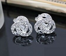 Earrings 9ct White Gold GF Stud Diamond Cluster Knot Studs Silver Gift 15 mm