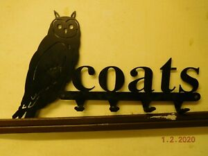 New - Silhouette Owl 4 Hook Coat Rack.