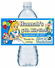 20 ALICE IN WONDERLAND BIRTHDAY PARTY FAVORS WATER BOTTLE LABELS