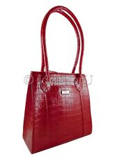 OSPREY LONDON NEW Women Red Mock Croc Authentic Leather Tote Handbag bag RRP£225