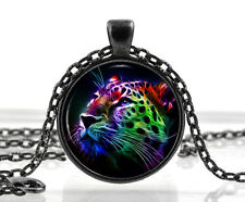 Leopard Necklace Pendant Cat Jewelry - Colourful Animal Picture Jewelry Gifts