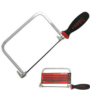 """Neilsen 6"""" Coping / Fret Saw Soft Grip Handle Steel Metal Frame With 5 Blades"""
