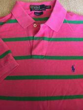 Polo Ralph Lauren Custom Fit Small Pink with Green Stripe Shirt Short Sleeve