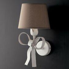Applique lampada parete bianco shabby chic ferro battuto paralumi tortora