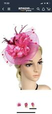 Pink, hot pInk feather Hair Fascinator on Headband Wedding Royal Ascot Races