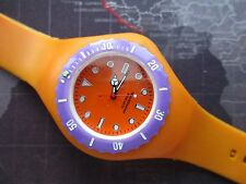 MENS LARGE ORANGE JELLY STRAP WATCH,, FRESH BATTERY