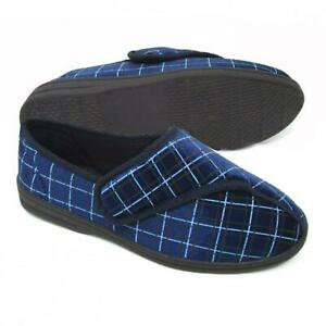 Mens Slippers Strap Touch Fastening Comfy ORTHOPAEDIC Washable Indoor House Shoe