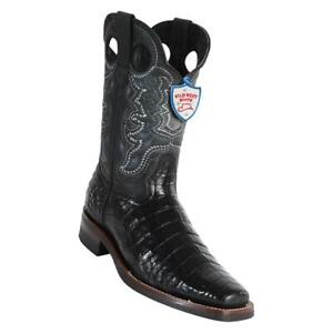 Men's Wild West Caiman Belly Boots With Rubber Sole Square Toe Handcrafted
