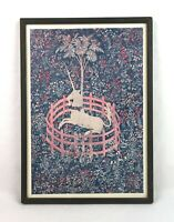 Vintage Mid Century The Unicorn in Captivity Wall Art Lithograph Print