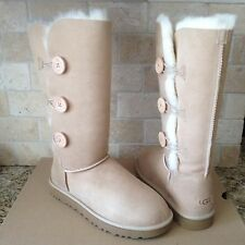 UGG BAILEY BUTTON TRIPLET TRIPLE II SAND SUEDE TALL BOOTS SIZE US 6 WOMENS NIB
