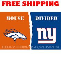 Denver Broncos vs New York Giants House Divided Flag Banner 3x5 ft NFL 2019 NEW