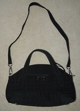 Vera Bradley Black Microfiber Handbag Purse, Large, Detachable Shoulder Strap