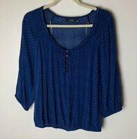 a.n.a. A New Approach Women's Top Size Medium 3/4 Sleeves Blue White Polka Dots