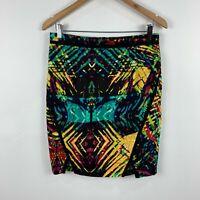 Portmans Womens Skirt Size 12 Multicolour Abstract Straight & Pencil Zip Closure