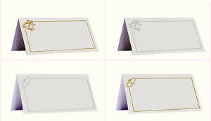 Pack of 50 Place Name Cards Wedding Bells or Love Hearts Design - Table Settings