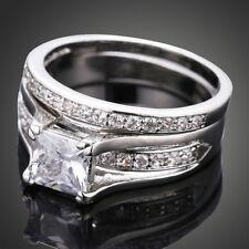 Elegent Women Princess White CZ Zircon Copper Wedding Band Engagement Ring Sets 7