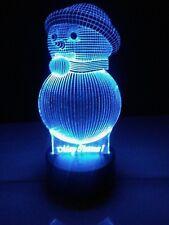 3D Acrilic LED Lamp: Snowman. 3D Lamp