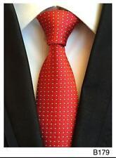 Rojo y Blanco Estampado Hecho a Mano 100% Seda Corbata de Boda