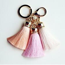 Fashion Lady Pink Key Chain Ice Silk Tassel Pompom Car Keychain Handbag Key Ring