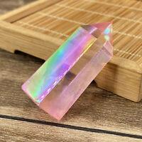 Pink titanium rainbow quartz obelisk crystal wand point reiki healing 1pc