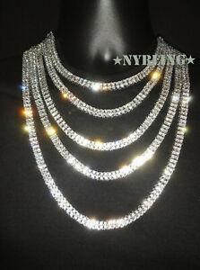 2 Row Tennis Chain Choker Gold/Silver IP Lab Diamond Hip Hop Iced Necklace