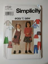 Simplicity 7742 Size 2 3 4 Child's Jumper Skirt Pants Knit Top
