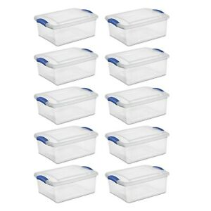 10x Clear Underbed Latch Storage Box Lid Containers Stackable 15Qt Organizer Set